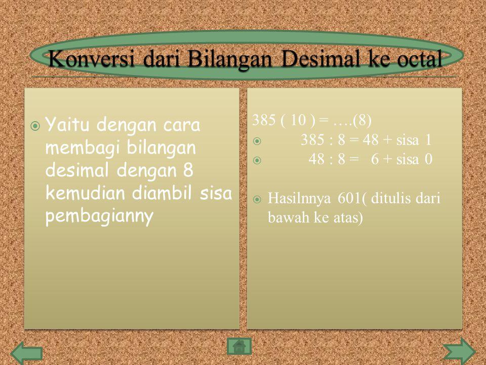 Konversi dari Bilangan Desimal ke octal