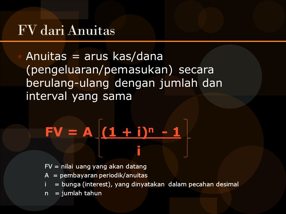 FV dari Anuitas FV = A (1 + i)n - 1 i