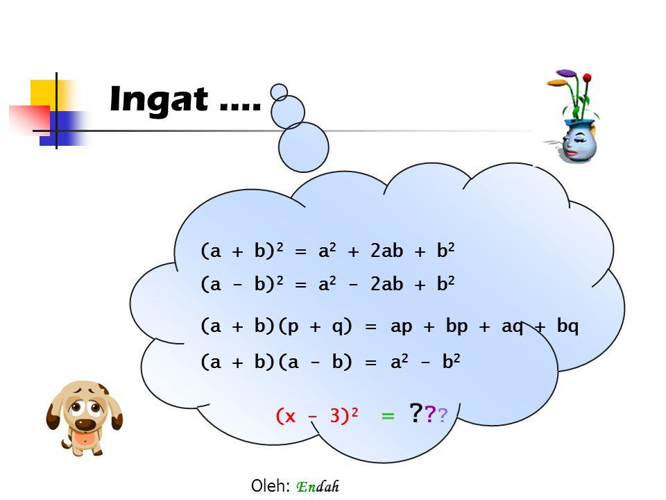 Ingat .… = (a + b)2 = a2 + 2ab + b2 (a - b)2 = a2 - 2ab + b2