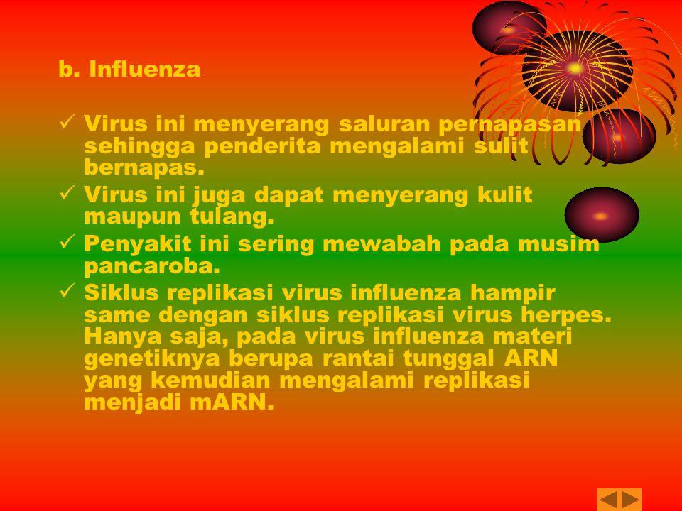 b. Influenza Virus ini menyerang saluran pernapasan sehingga penderita mengalami sulit bernapas. Virus ini juga dapat menyerang kulit maupun tulang.