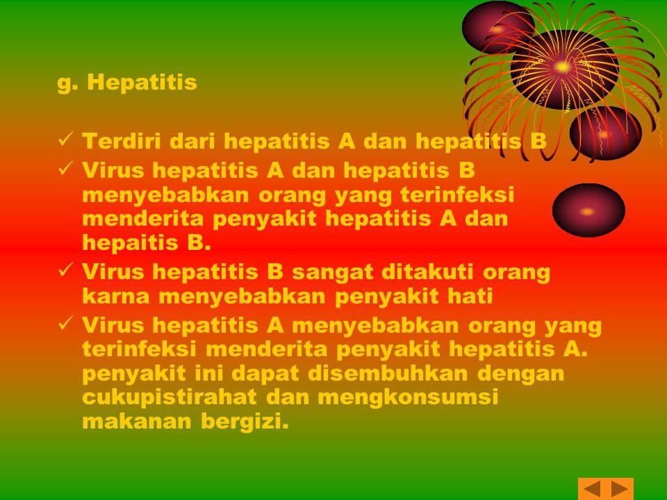 g. Hepatitis Terdiri dari hepatitis A dan hepatitis B.