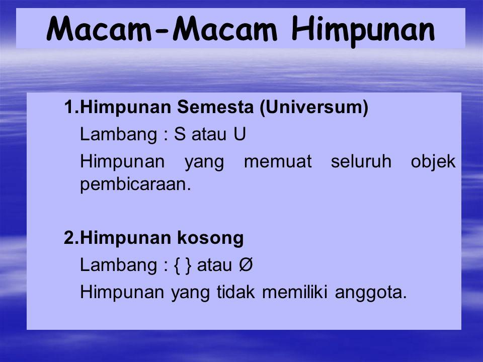 Macam-Macam Himpunan 1. Himpunan Semesta (Universum)