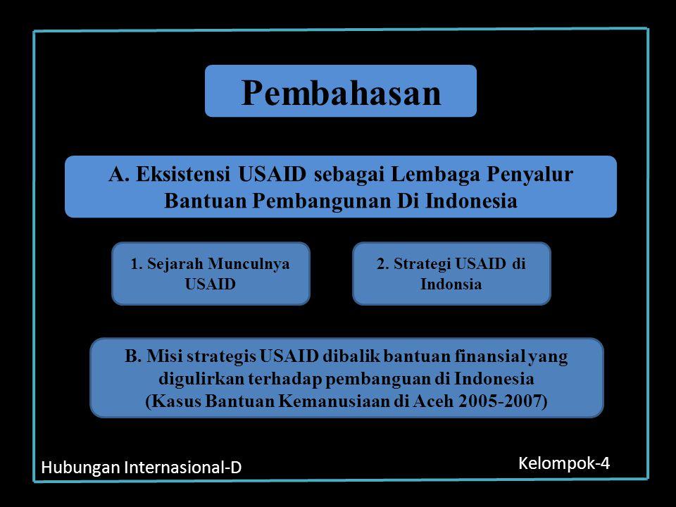 Pembahasan A. Eksistensi USAID sebagai Lembaga Penyalur Bantuan Pembangunan Di Indonesia. 1. Sejarah Munculnya USAID.