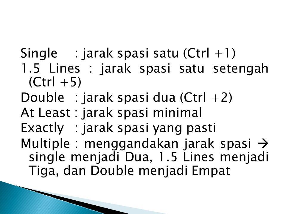 Single : jarak spasi satu (Ctrl +1) 1