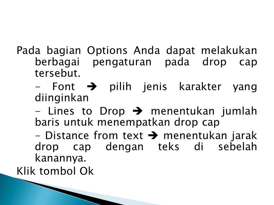 Pada bagian Options Anda dapat melakukan berbagai pengaturan pada drop cap tersebut.