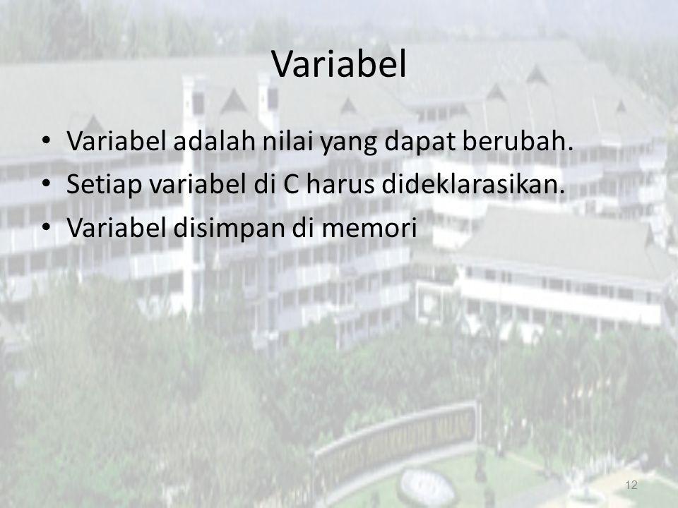 Variabel Variabel adalah nilai yang dapat berubah.