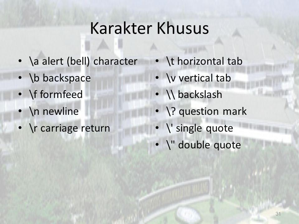 Karakter Khusus \a alert (bell) character \b backspace \f formfeed