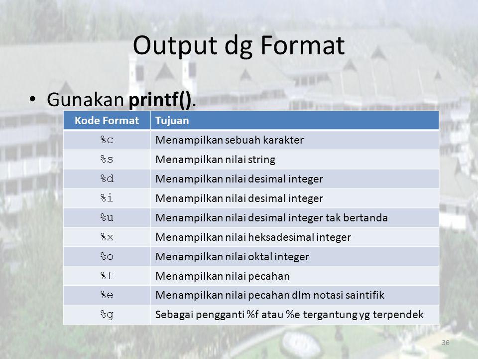 Output dg Format Gunakan printf(). Kode Format Tujuan %c