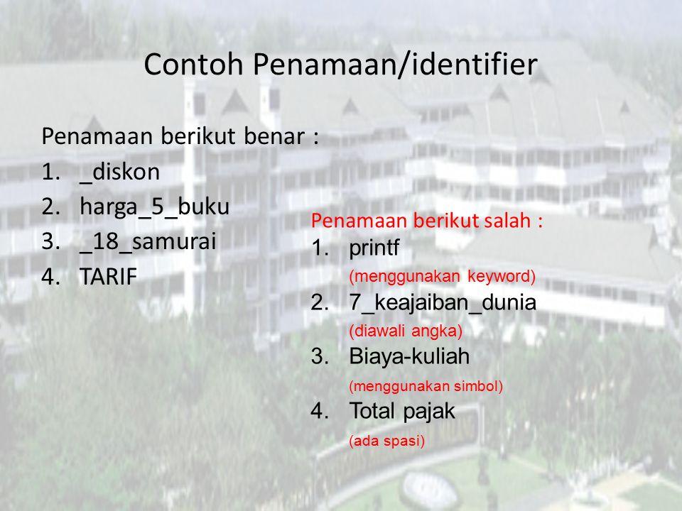 Contoh Penamaan/identifier