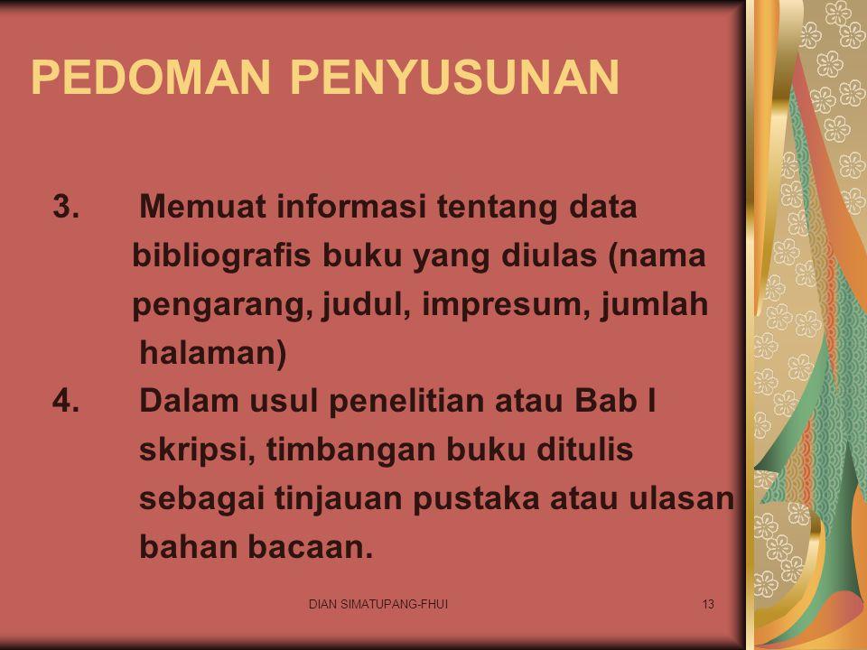 PEDOMAN PENYUSUNAN 3. Memuat informasi tentang data