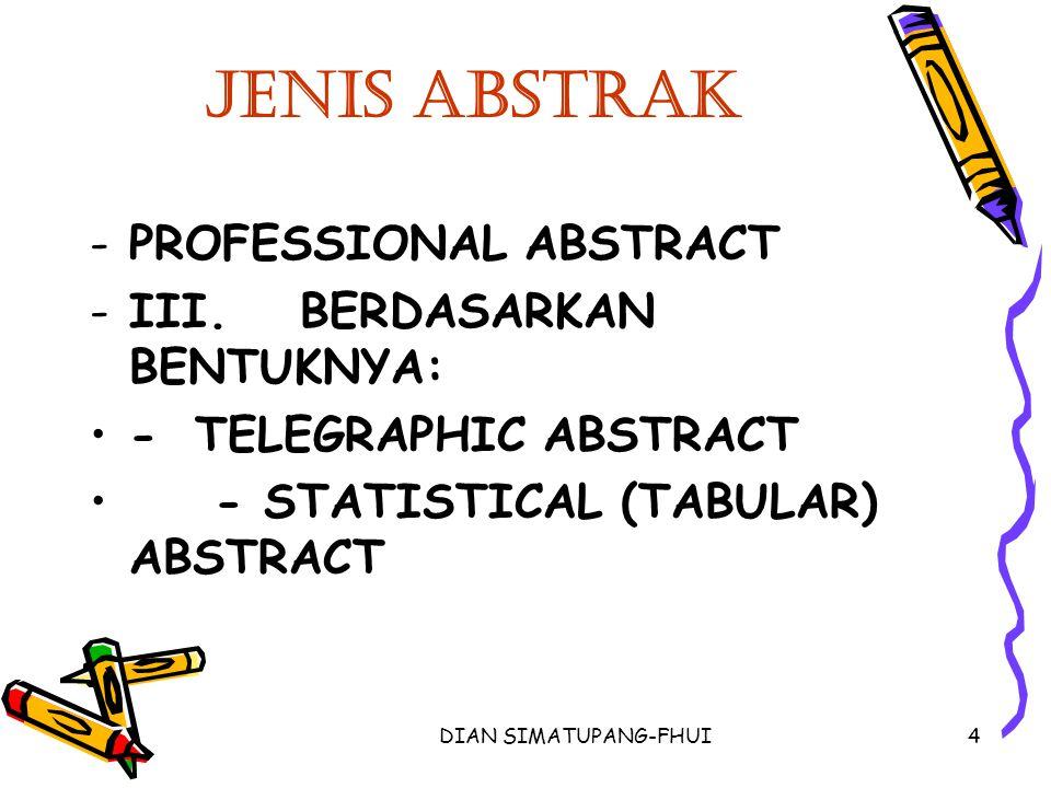 Jenis Abstrak PROFESSIONAL ABSTRACT III. BERDASARKAN BENTUKNYA:
