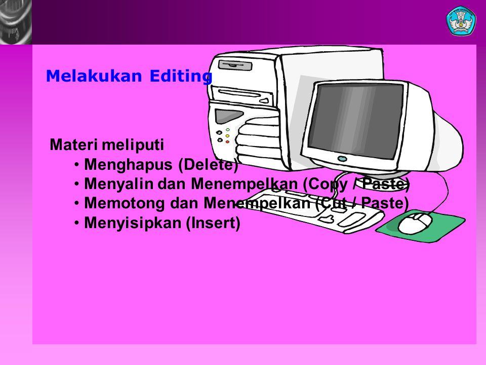 Melakukan Editing Materi meliputi. Menghapus (Delete) Menyalin dan Menempelkan (Copy / Paste) Memotong dan Menempelkan (Cut / Paste)
