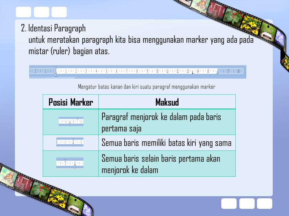 Mengatur batas kanan dan kiri suatu paragraf menggunakan marker