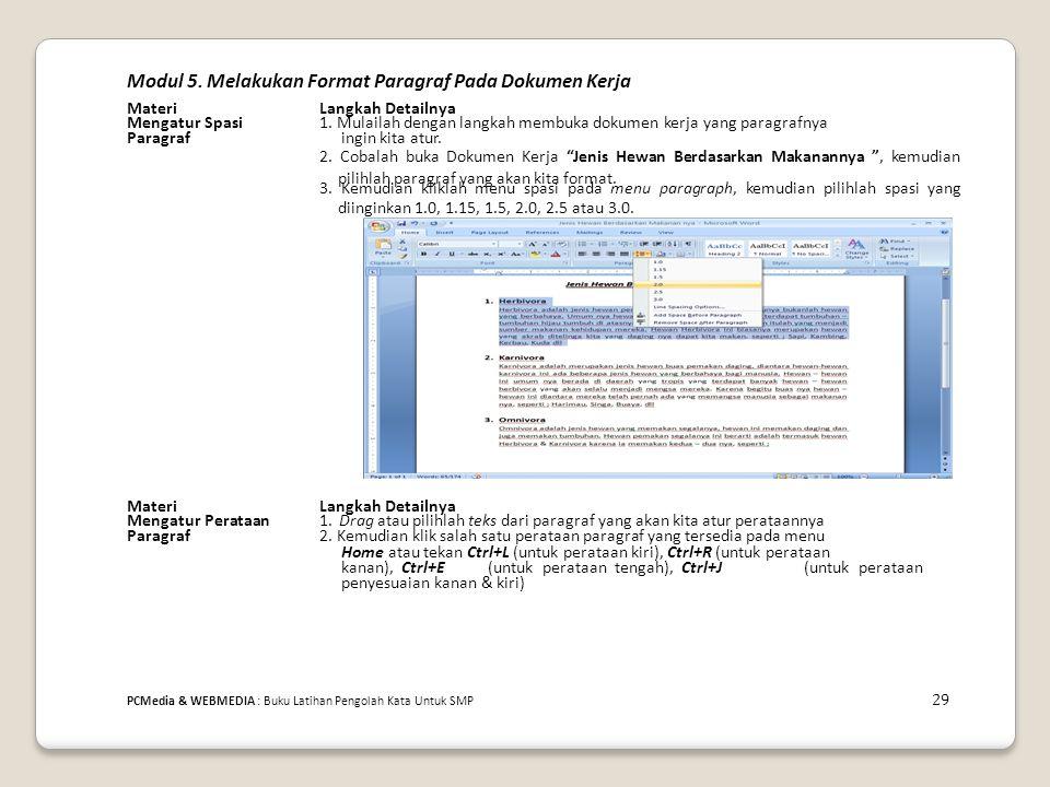 Modul 5. Melakukan Format Paragraf Pada Dokumen Kerja