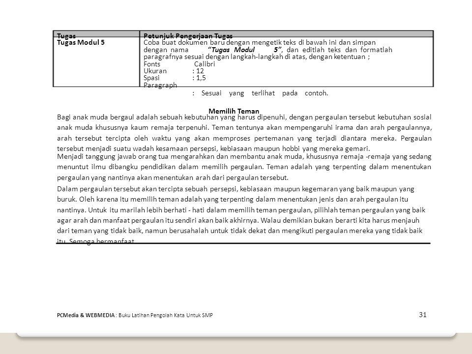 Petunjuk Pengerjaan Tugas Tugas Modul 5