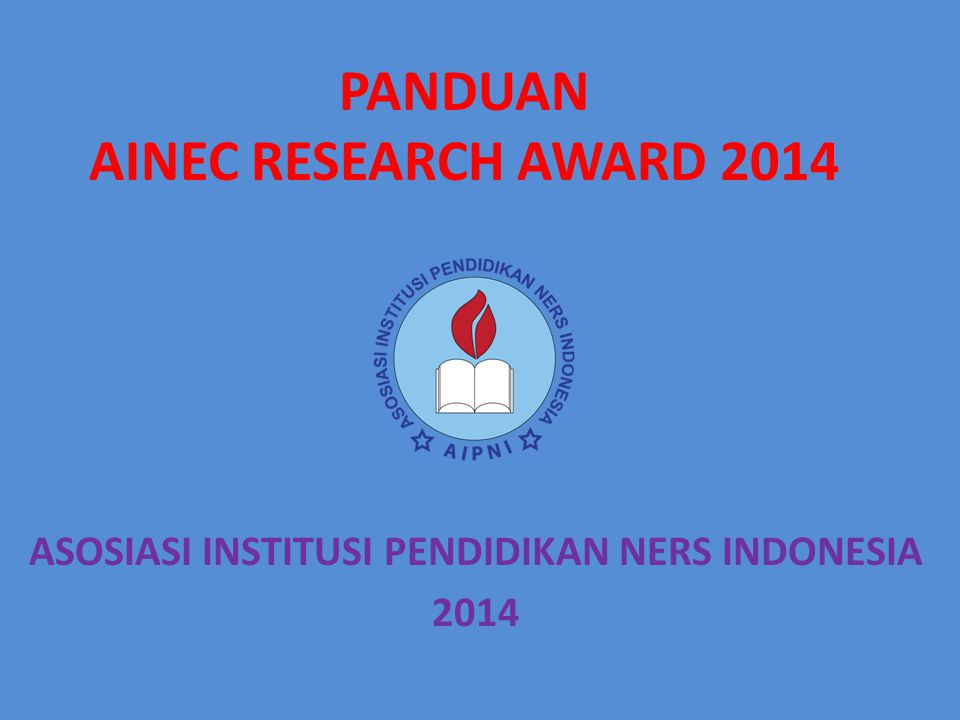 PANDUAN AINEC RESEARCH AWARD 2014