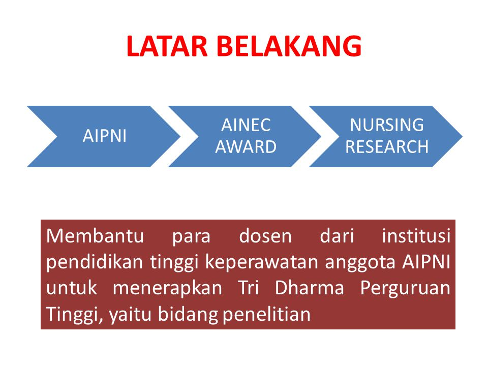 LATAR BELAKANG AIPNI. AINEC AWARD. NURSING RESEARCH.