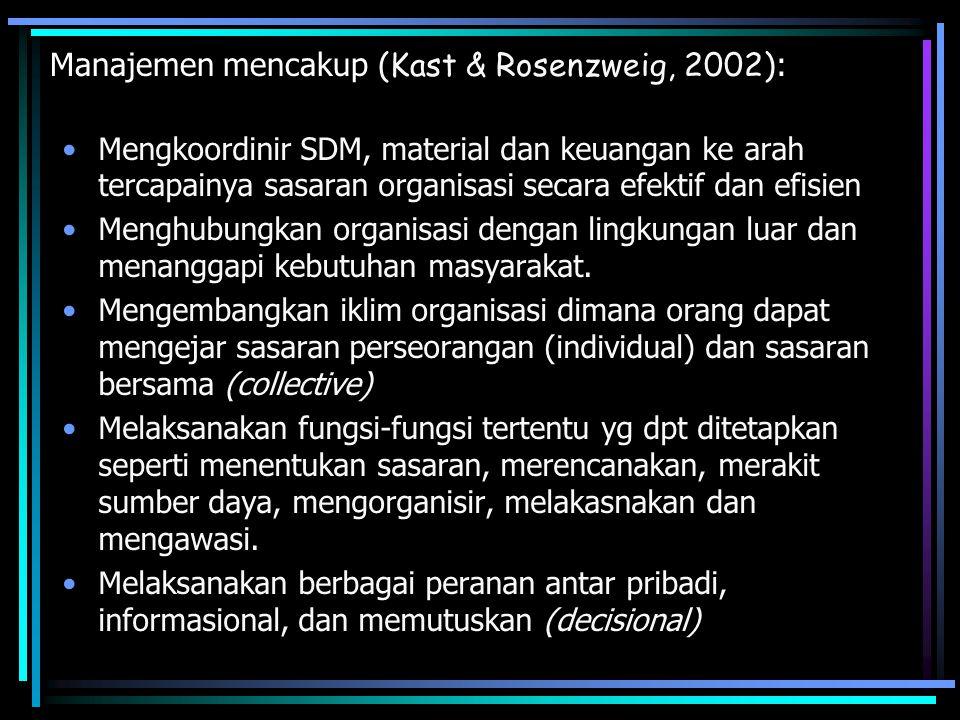 Manajemen mencakup (Kast & Rosenzweig, 2002):