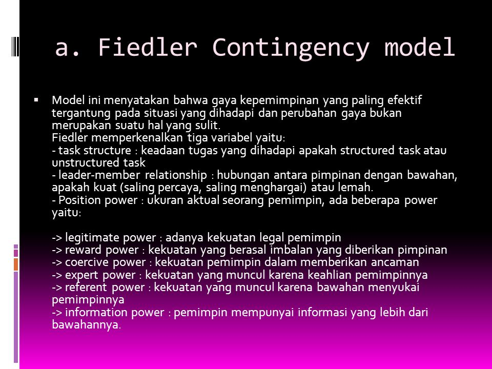 a. Fiedler Contingency model