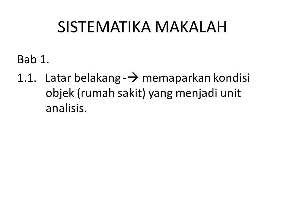 SISTEMATIKA MAKALAH Bab 1. 1.1.