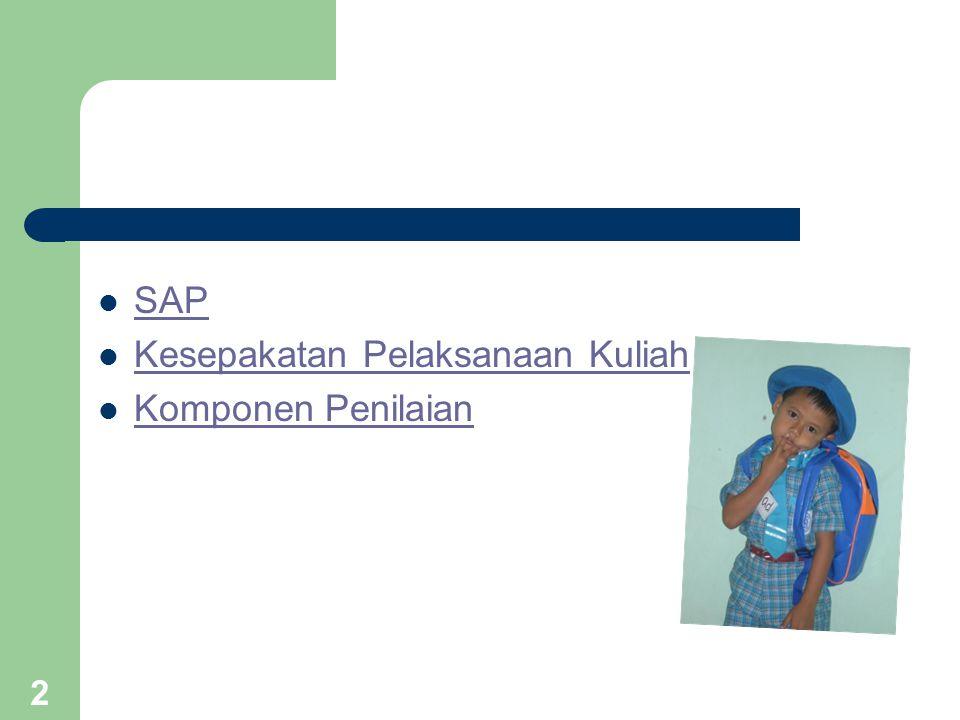 SAP Kesepakatan Pelaksanaan Kuliah Komponen Penilaian