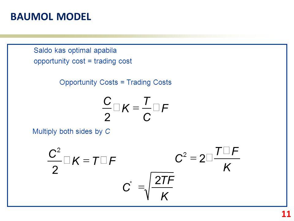 BAUMOL MODEL F C T K ´ = 2 F T K C ´ = 2 K F T C ´ = 2 K TF C 2 =