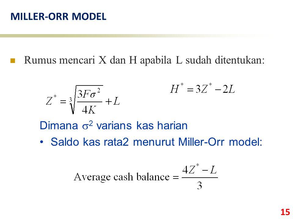 MILLER-ORR MODEL Rumus mencari X dan H apabila L sudah ditentukan: Dimana s2 varians kas harian.