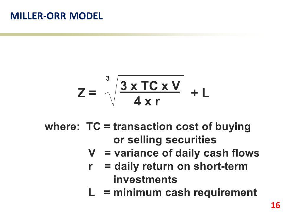 3 x TC x V Z = + L 4 x r MILLER-ORR MODEL
