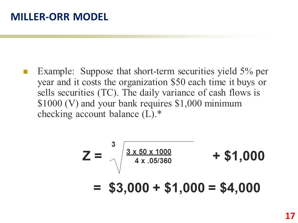 Z = + $1,000 = $3,000 + $1,000 = $4,000 MILLER-ORR MODEL