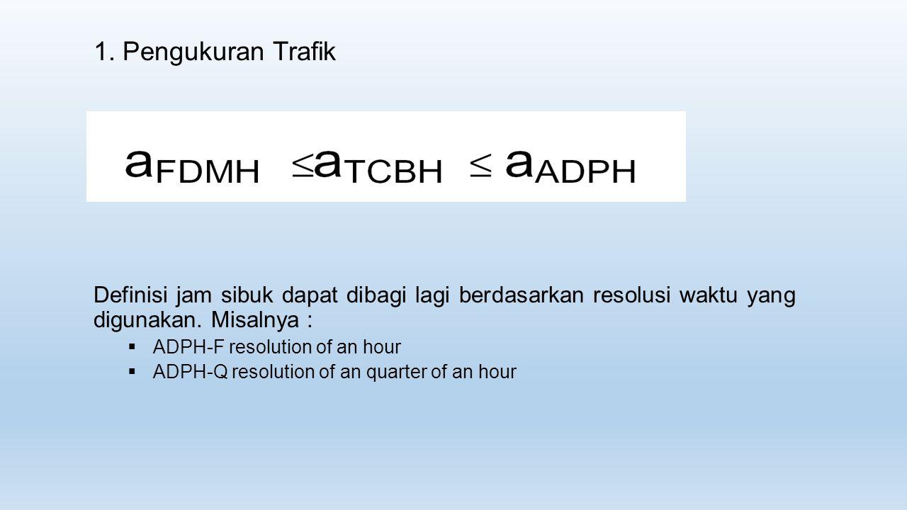 1. Pengukuran Trafik Definisi jam sibuk dapat dibagi lagi berdasarkan resolusi waktu yang digunakan. Misalnya :