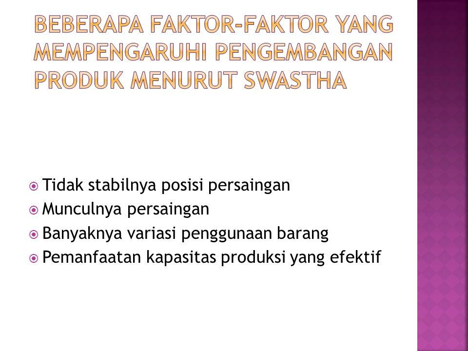 Beberapa faktor-faktor yang mempengaruhi pengembangan produk Menurut Swastha