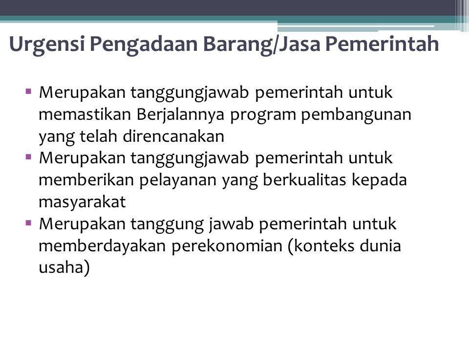 Urgensi Pengadaan Barang/Jasa Pemerintah