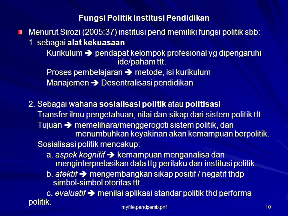 Fungsi Politik Institusi Pendidikan