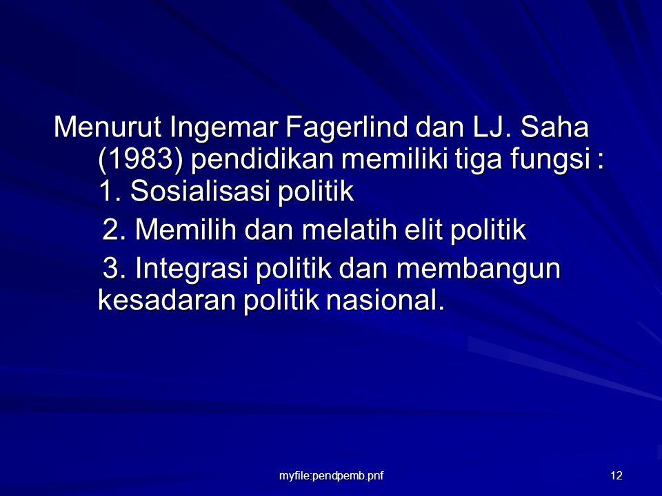 2. Memilih dan melatih elit politik