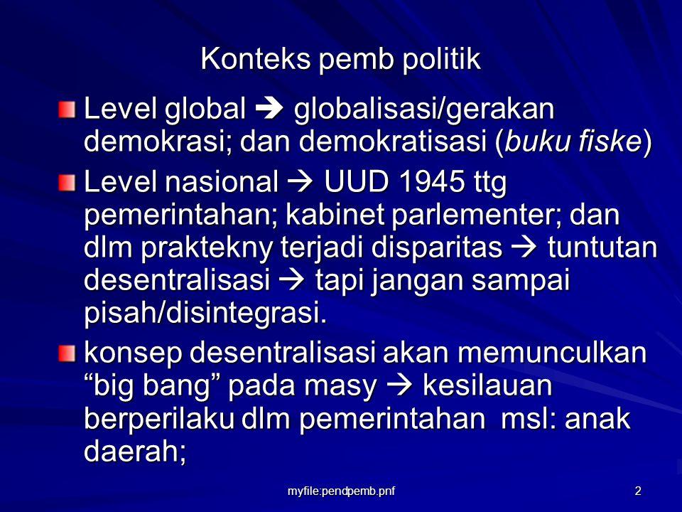 Konteks pemb politik Level global  globalisasi/gerakan demokrasi; dan demokratisasi (buku fiske)