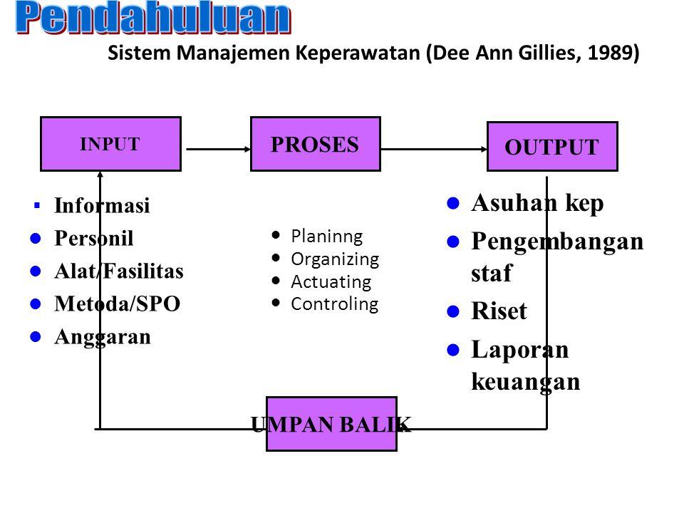Sistem Manajemen Keperawatan (Dee Ann Gillies, 1989)