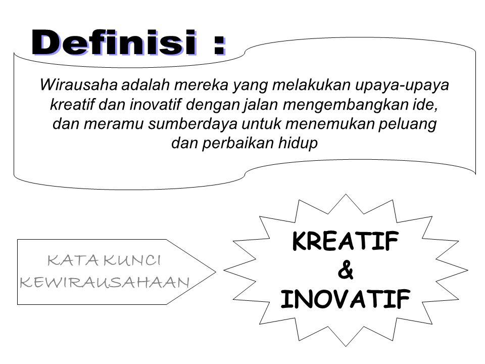 KREATIF & INOVATIF Definisi : KATA KUNCI KEWIRAUSAHAAN