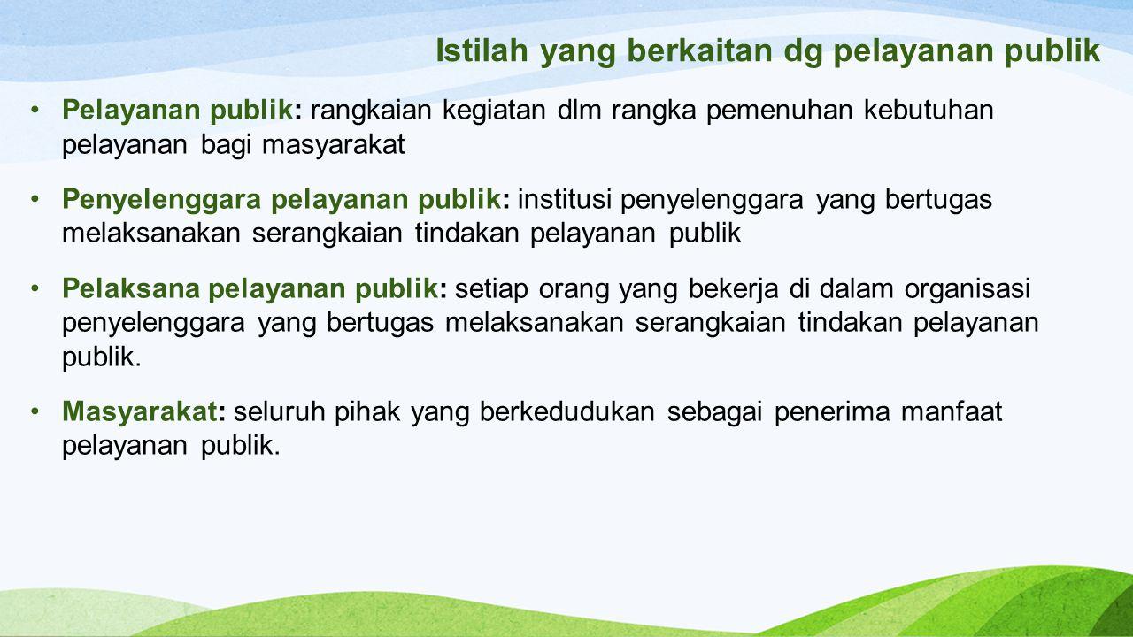 Istilah yang berkaitan dg pelayanan publik