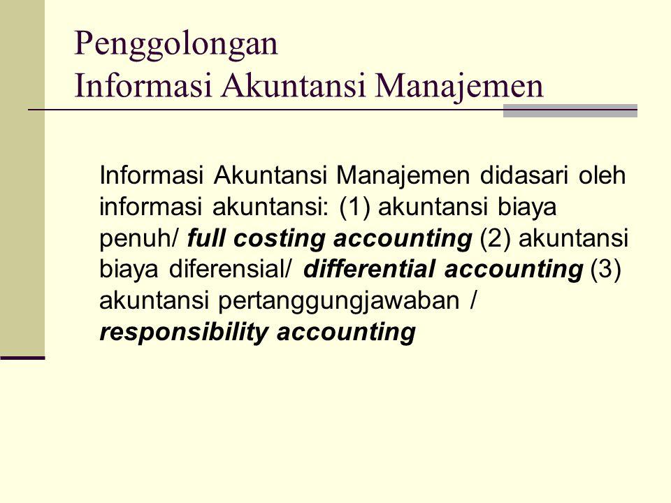 Penggolongan Informasi Akuntansi Manajemen