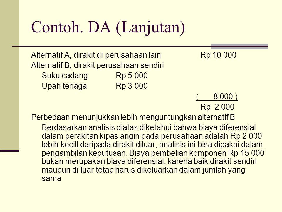 Contoh. DA (Lanjutan) Alternatif A, dirakit di perusahaan lain Rp 10 000. Alternatif B, dirakit perusahaan sendiri.