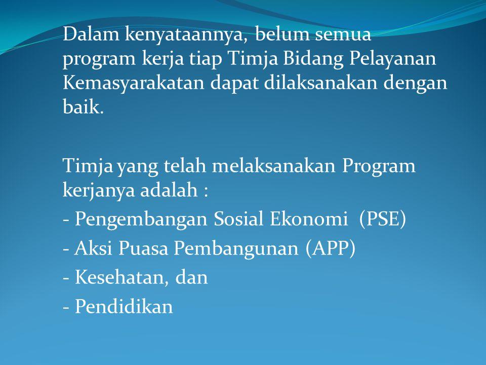 Dalam kenyataannya, belum semua program kerja tiap Timja Bidang Pelayanan Kemasyarakatan dapat dilaksanakan dengan baik.