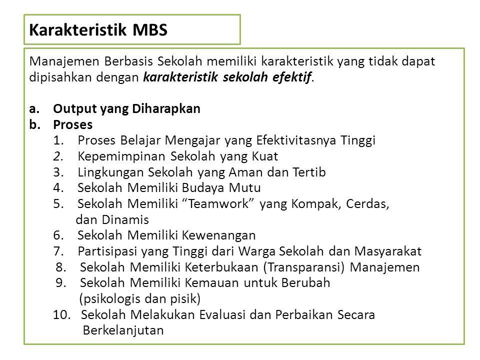 Karakteristik MBS Manajemen Berbasis Sekolah memiliki karakteristik yang tidak dapat dipisahkan dengan karakteristik sekolah efektif.