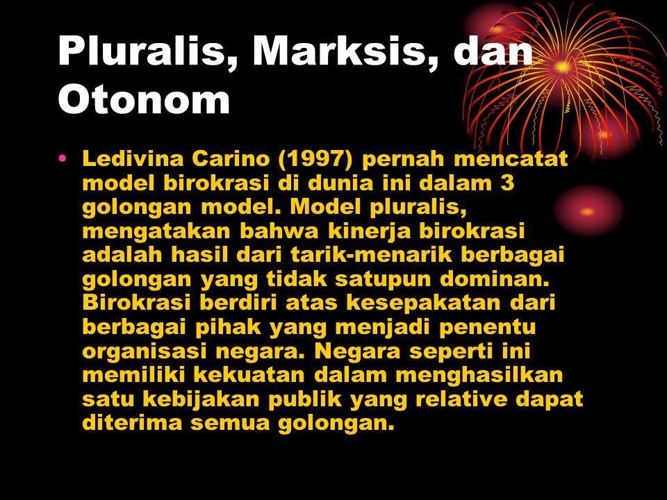 Pluralis, Marksis, dan Otonom