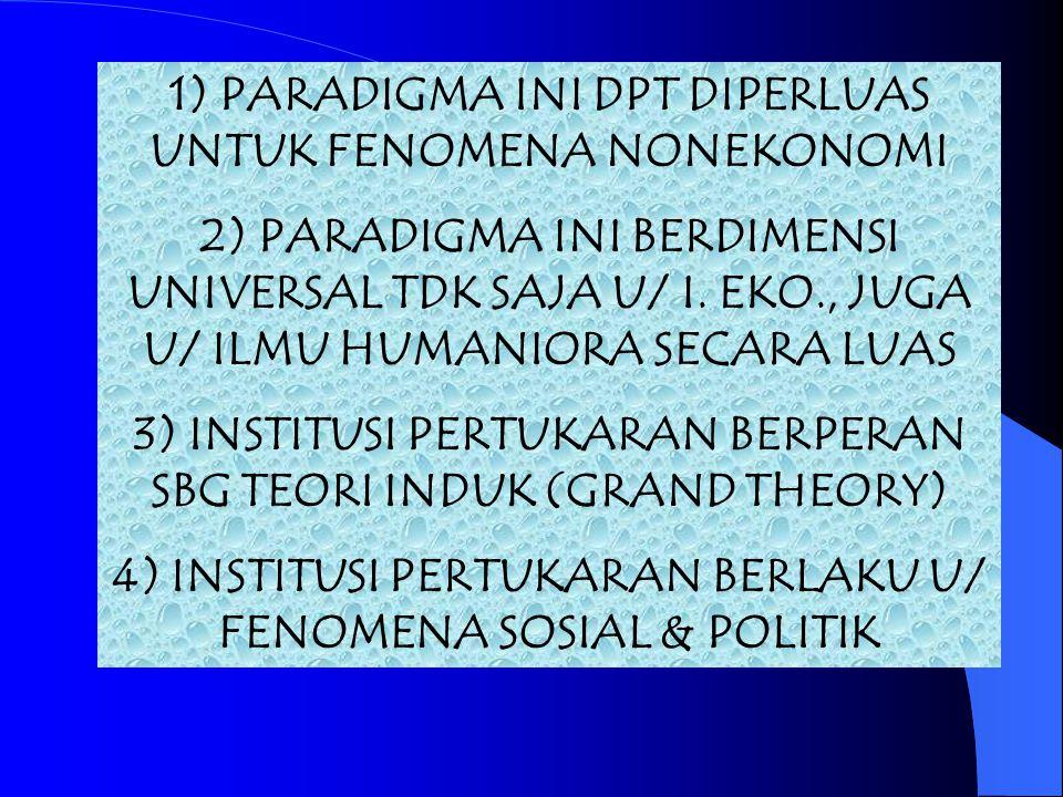 1) PARADIGMA INI DPT DIPERLUAS UNTUK FENOMENA NONEKONOMI