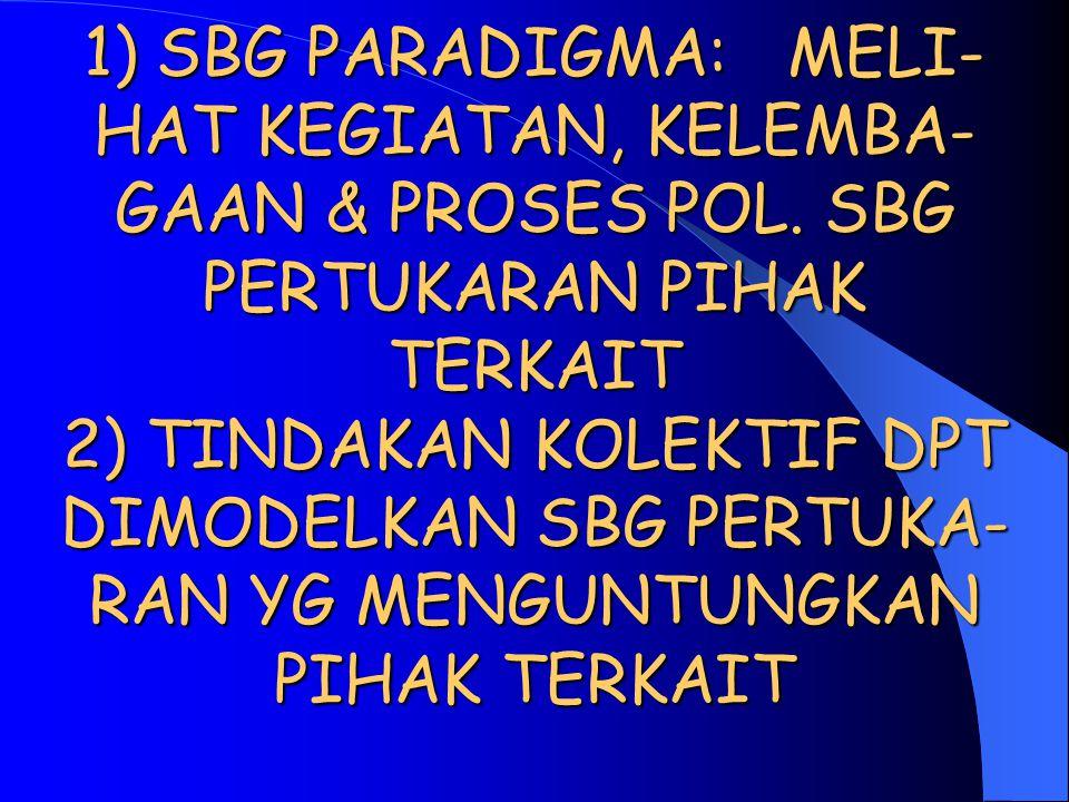1) SBG PARADIGMA: MELI-HAT KEGIATAN, KELEMBA-GAAN & PROSES POL