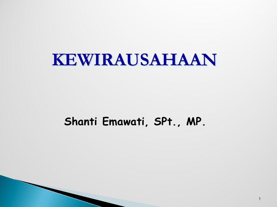 KEWIRAUSAHAAN Shanti Emawati, SPt., MP. 12Pebr 08