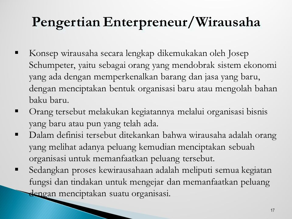 Pengertian Enterpreneur/Wirausaha
