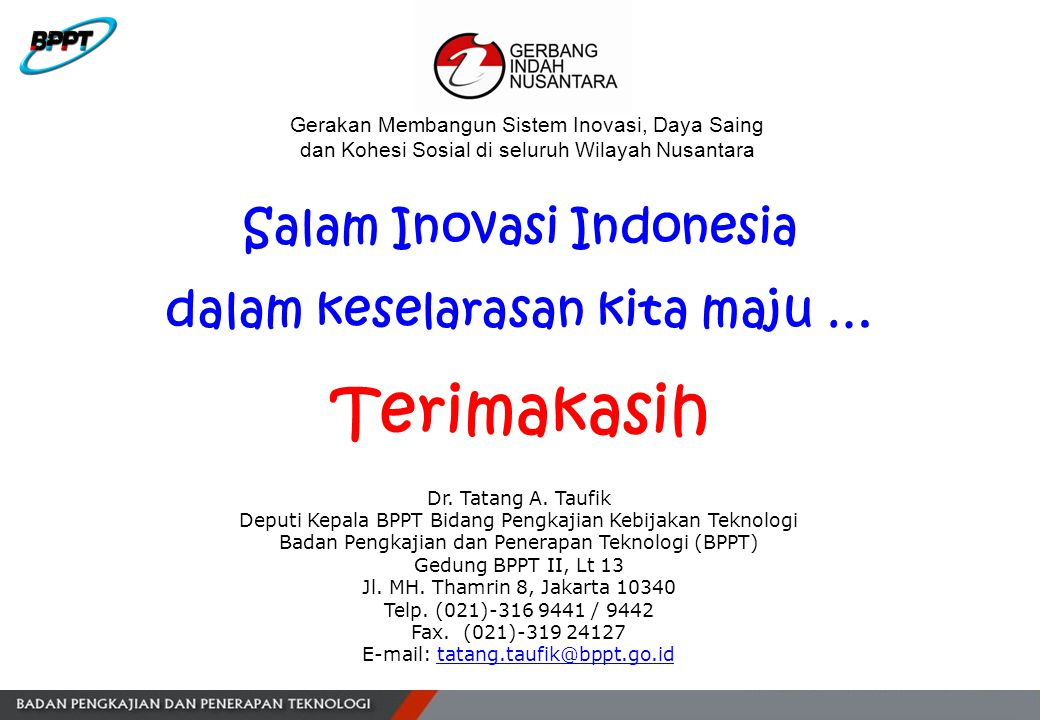 Salam Inovasi Indonesia dalam keselarasan kita maju …