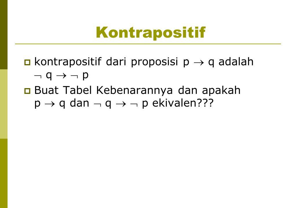 Kontrapositif kontrapositif dari proposisi p  q adalah  q   p