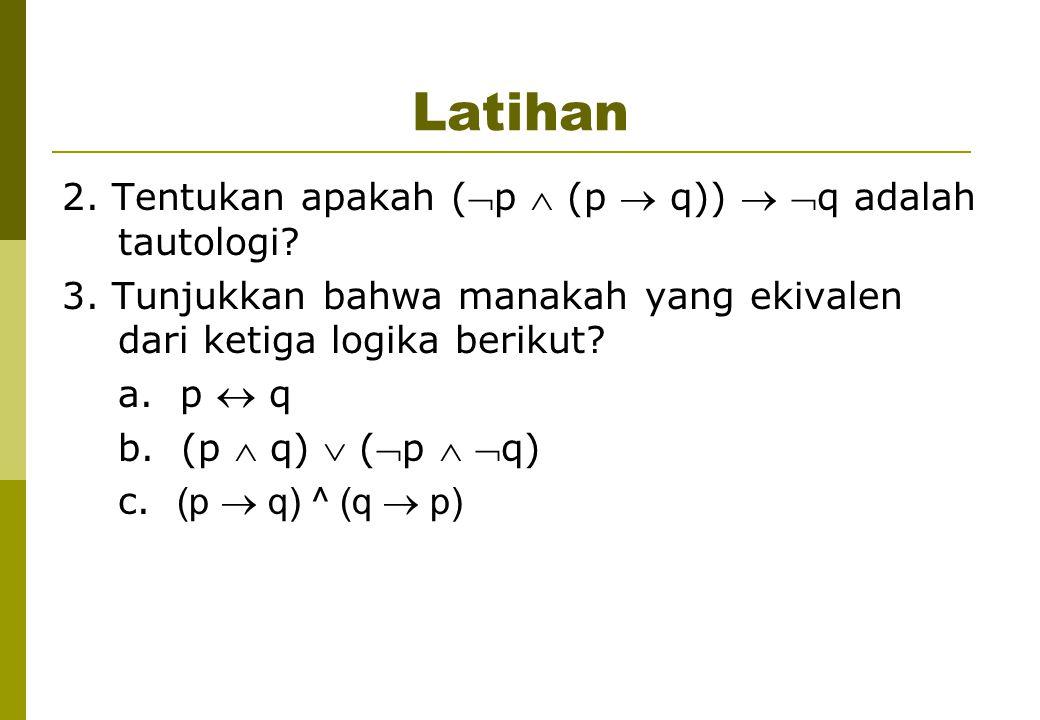 Latihan 2. Tentukan apakah (p  (p  q))  q adalah tautologi